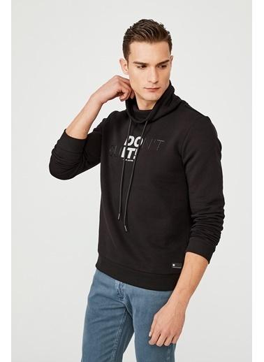 Avva Erkek  Balıkçı Yaka Baskılı Sweatshirt A02Y1081 Siyah